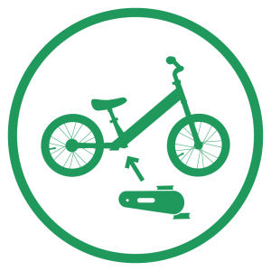 An icon showing a 14 inch balance bike and pedal kit